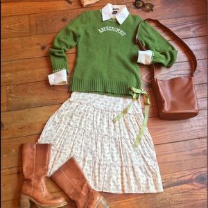 🍁RARE Vintage Abercrombie & Fitch Wool LOGO Crew